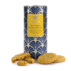 Stem Ginger & Lemon Biscuits with biscuits out of tub