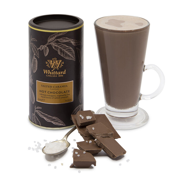 Salted Caramel Flavour Hot Chocolate with chunks of chocolate