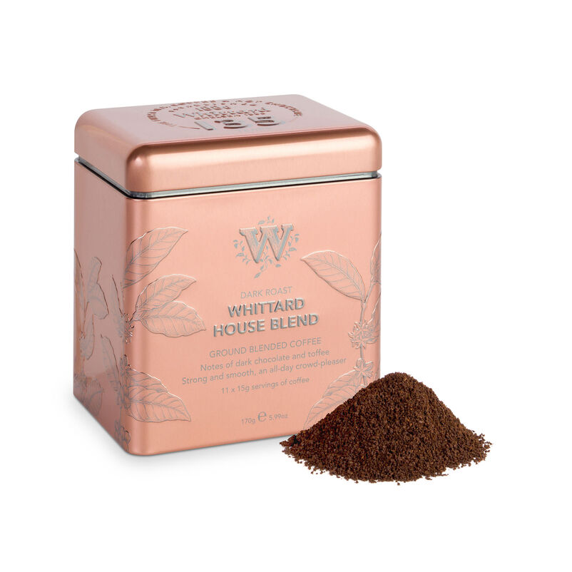 135 year House Blend Tin with ground coffee