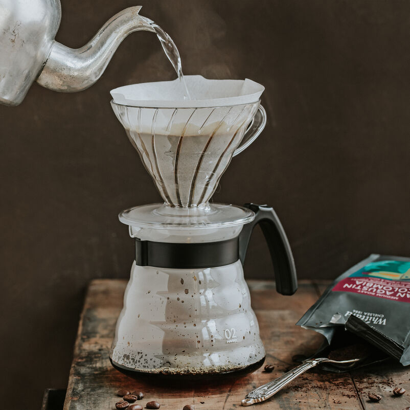 Hario V60 Craft Coffee Maker with hot water pouring