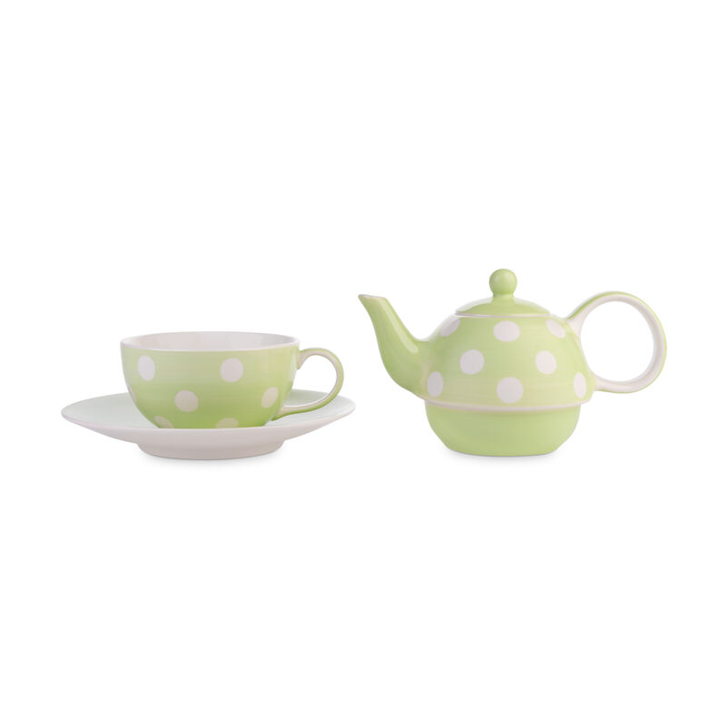 Florence Pistachio Tea-for-One with separate teacup and teapot