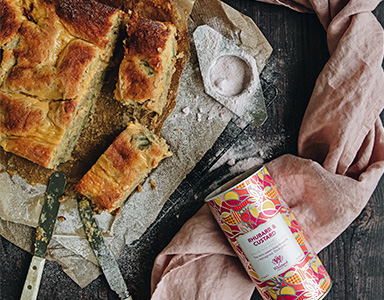 Rhubarb & Custard Traybake Recipe